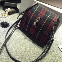 Back To School Comfort College Casual Hot Deal On Sale Stylish England Style Vintage Plaid Shoulder Bags Messenger Bags Backpack [6581209351]