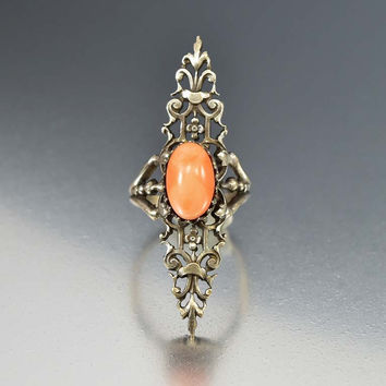 Vintage Art Nouveau Coral Ring Long Silver Plate Filigree