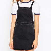 ASOS Denim A-Line Pinafore Dress In Washed Black