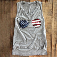 Women's Cool Red White and Blue Flag Glasses Graphic Print Heather Gray Tank Top T-Shirt