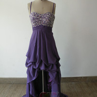 Handmade Custom Spaghetti Straps Purple Sequin High Low Chiffon Formal Long Prom Evening Party Bridesmaid Cocktail Homecoming Dress Gown