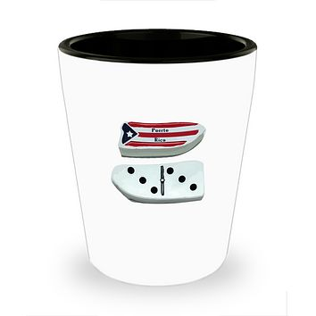 Puerto Rico Flag PR Dominoes Drinking Shot Glass