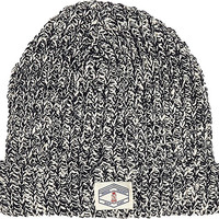 River Island Boys navy twist yarn rolled up beanie hat