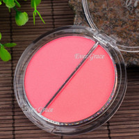2 Colors Pressed Face Blush Powder Cheek Blusher Makeup Cosmetics Tool Nude Pink