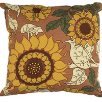"""Applique and Embroidered Orange Pillow Cover (20"""" x 20"""")"""