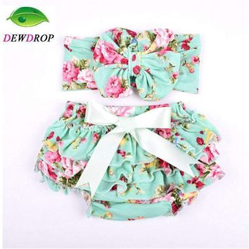 (DEWDROP)Baby Cotton Bloomers Diaper Cover Newborn Cute Tutu Ruffled Panties Baby Girl Lace Bow tie Short Hot Retail Baby Shorts