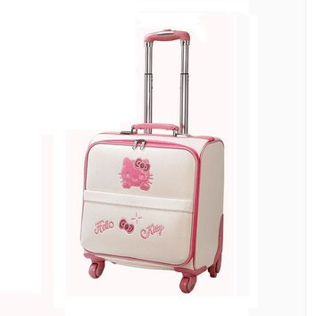 Fashion hello kitty suitcase 16 inch women luggage bag High quality PU travel suitcase with wheels