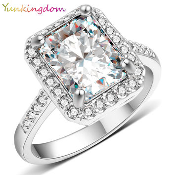 Yunkingdom New square design White Gold plated filled ring AAA CZ diamond wedding rings luxury Brand jewelry Fine Gifts  X0040