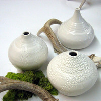 Handmade pottery 3 white vases with crawling glaze perfect for your home decor and very modern and minimalist