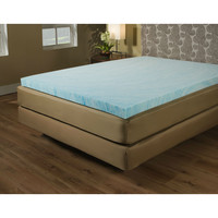 Queen size 2-inch Blue Gel Memory Foam Mattress Topper - Made in USA
