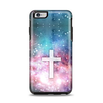 The Vector White Cross v2 over Colorful Neon Space Nebula Apple iPhone 6 Plus Otterbox Symmetry Case Skin Set