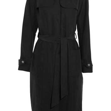 Iris and Ink Barbara belted washed-cupro trench coat – 0% at THE OUTNET.COM