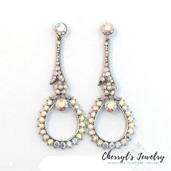 AB Swarovski Crystal Long Drop Pageant Party Earrings
