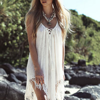 Strappy Tassel Backless Beach Dress B007963