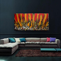"""Painting - Abstract Modern Art on Canvas 48"""" Red, Yellow, and Black, Large Original Artwork, Handmade Huge Painting, Home Decor by Nandita"""
