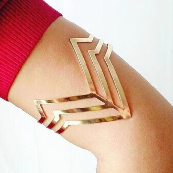 New fashion jewelry copper metal with gold plated arm cuff bangle gift for women girl B3259