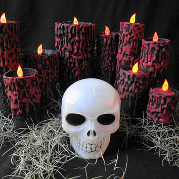 Halloween Blood Drip Flameless Candles Set Vampire Gothic Horror Haunted House Party Display Large Pillar w Battery Operated Tea Lights Moss
