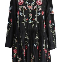 Floral Paradise Embroidered Dress in Black