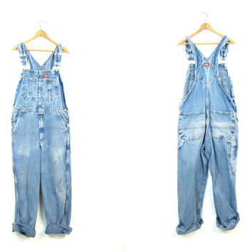 Dickies Denim Bib Overalls 80s Distressed Blue Jean Overalls Workwear Carpenter Pants Engineer Work Pants Utility Bibs 32 X 30 Small Medium