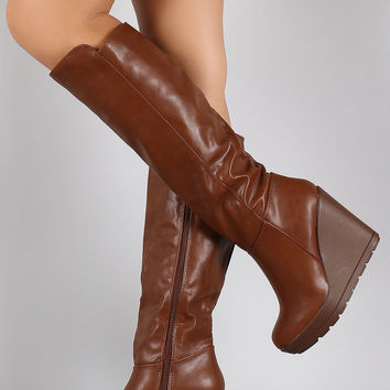Breckelle Panel High Shaft Wedge Boots