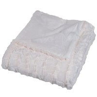 Bedford Home Plush Croc Embossed Faux Fur Mink Throw Blanket, Cream