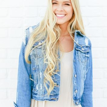 Elli Distressed Denim Jacket