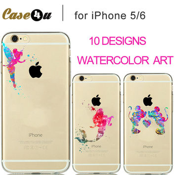 2016 New Watercolor Transparent Soft TPU Case Clear cover for iPhone 7 Plus 6s 6 5S 5 Fairy Tale Characters Tinker Bell Capinahs