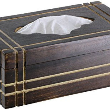 "SouvnNear 17"" Rectangular Wooden Tissue Box Cover Made in Mango Wood - Fits 2 Ply, 160 Count Kleenex Tissues"