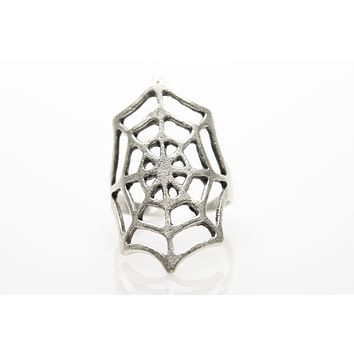 Spider Net Antique Silver Plated Adjustable Ring