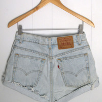 Vtg Levi's Light Wash High Waisted Cut Off Denim Shorts Blue Jean Cuffed 29""