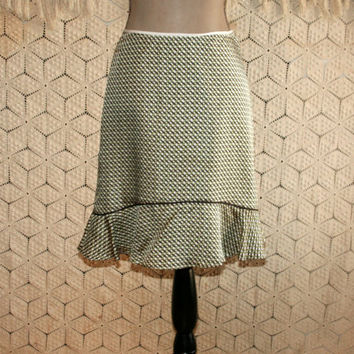 Green + Brown Basket Weave Silk Skirt Midi Skirt Flounce Ruffle Womens Skirts Banana Republic Petite Skirt XS Womens Clothing