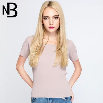 Fall Style Knit Short Sleeve Slim Tops [8906285575]