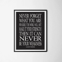 "Game Of Thrones Quote ""Never forget what you are"" Game Of Thrones Typography Poster Wall Hanging TV Series Typography Poster  Inspirational"