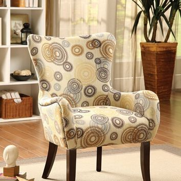 Gabir collection round gears pattern fabric accent side chair
