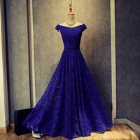 robe de soriee Real Photos Women  Long Lace Prom Dresses 2017 New Royal Blue/Red Off the Shoulder Evening Gowns Vestido De Festa