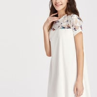 White Round Neck Short Sleeve Bird Print Mesh Yoke Dress