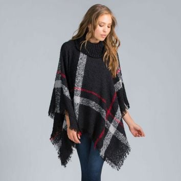Women's Wool Plaid Cardigan Turtleneck Cape Sleeve Knit Poncho Sweater