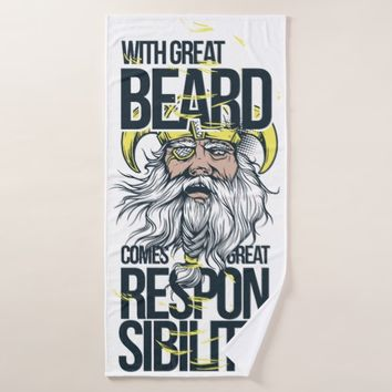 Men´s Bath Towel Quote: With Great Beard...