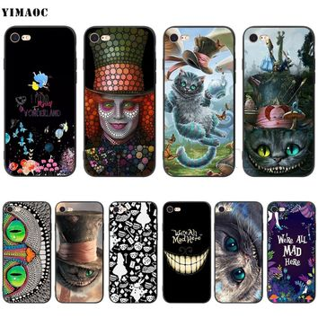 YIMAOC Alice in Wonderland Cat Silicone Soft Case for iPhone XS Max XR X 8 7 6 6S Plus 5 5S SE