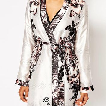 River Island Niki Floral Robe at asos.com