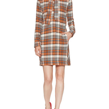 Checked Long Sleeve Shift Dress with Necktie