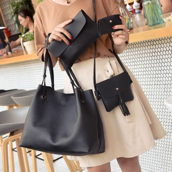 4pcs Crossbody Leather Shoulder Handbag