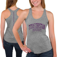 TCU Horned Frogs Womens Breaking Hearts Tri-Blend Racerback Tank Top – Gray
