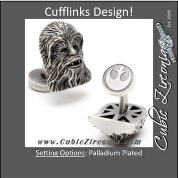 Men's Cufflinks- 3D Palladium Plated Chewbacca (Licensed Star Wars®)