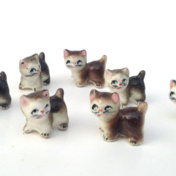 Vintage tiny kitten figurine set of 7; cat dollhouse miniature collectibles;  mid century ceramic shadow box craft project ideas