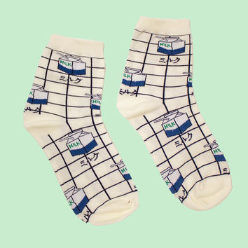 Grid Milk Carton Sock | White