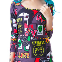 Lazy Oaf Megabreath Bodycon Dress Multi