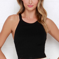You're Swell Black Crop Top