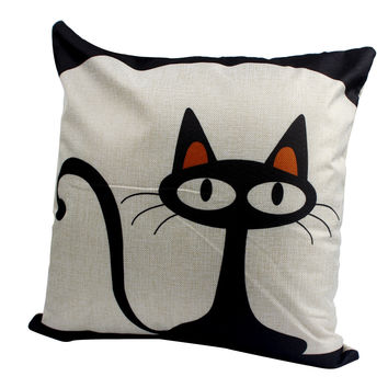 Throw Decorative Pillow  Car Home Decor Cushion Mr. Animal Cat Owl Printed Colorful For Sofa Bed With Inner Core 45*45cm