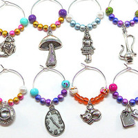 Alice in Wonderland Wine Charms- 12 Mad Hatter Tea Party Wine Glass Tags, Wine Glass Accessories, Stemware Charms